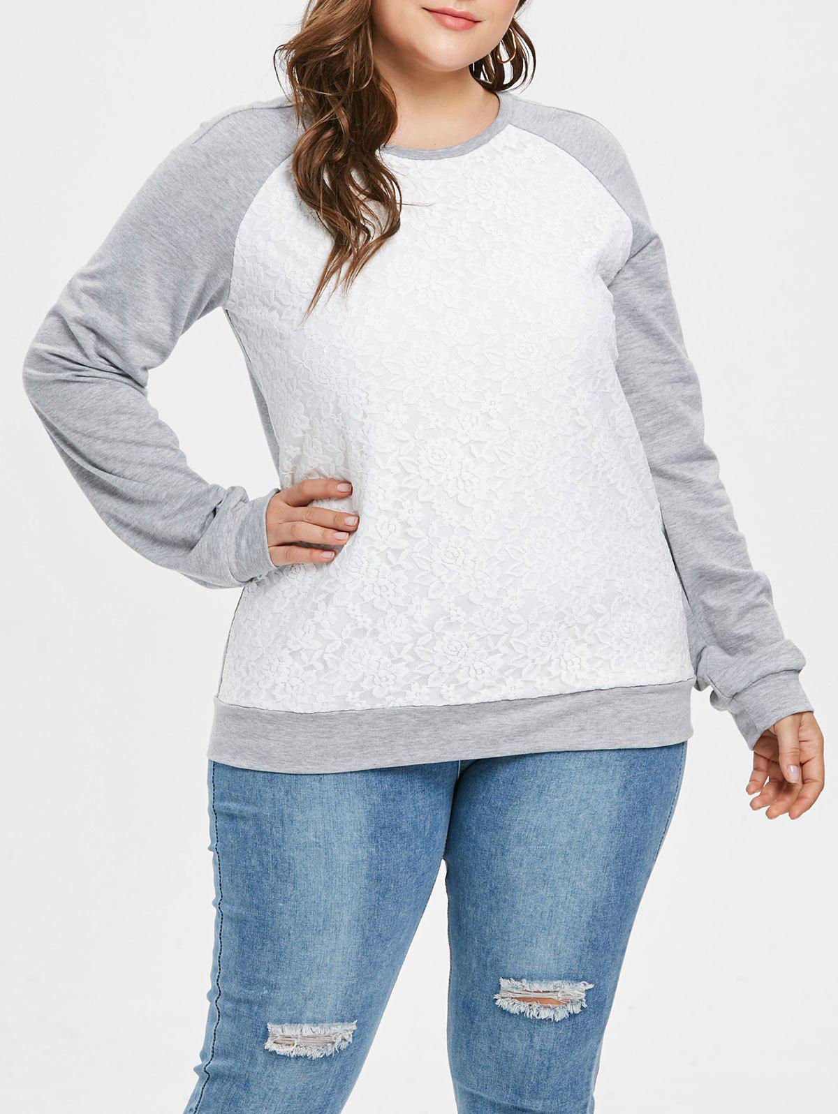 Plus Size Lace Panel Pullover Contras Sweatshirt - GRAY CLOUD 2X