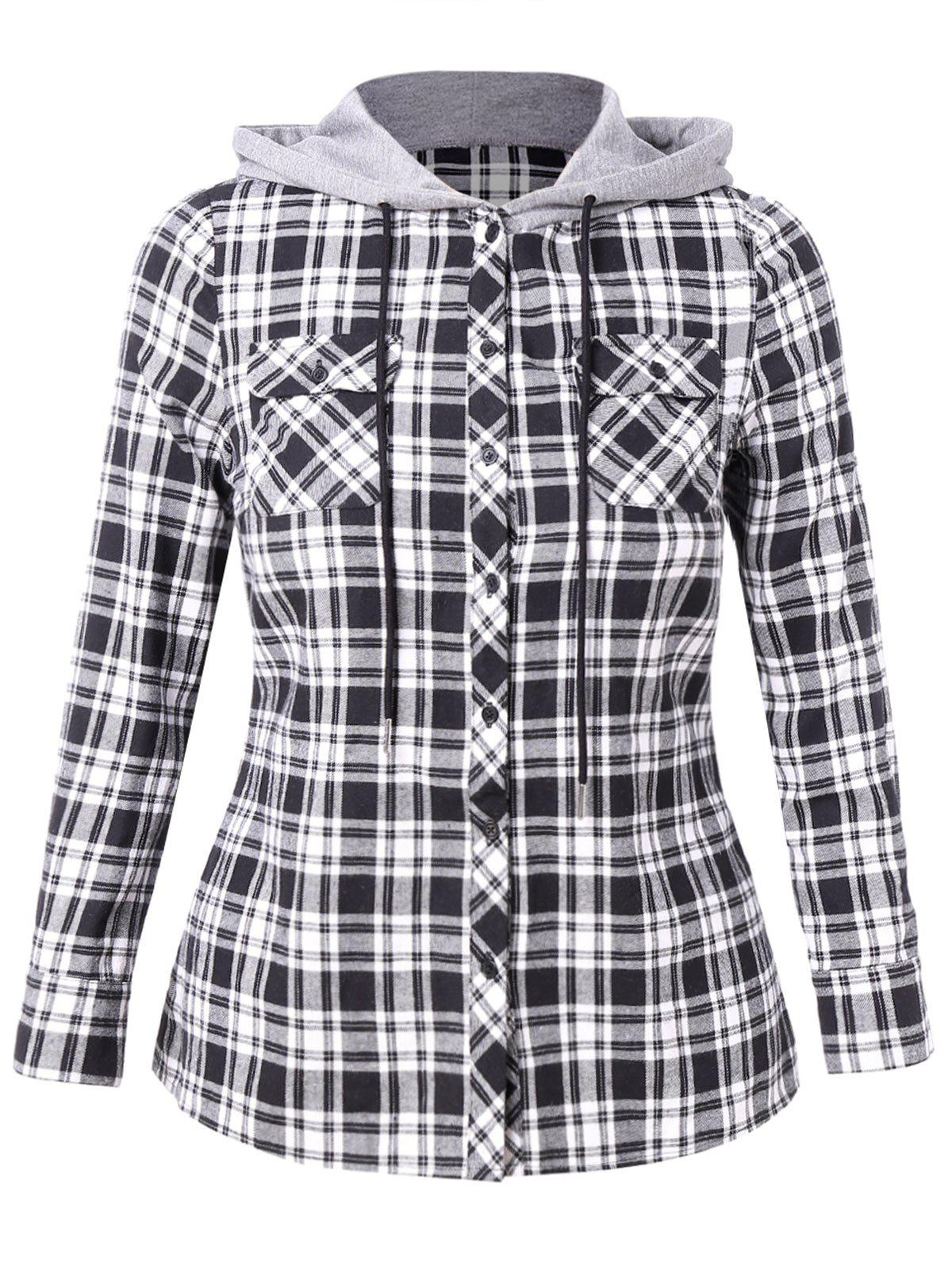 Plus Size Color Block Plaid Hooded Shirt - BLACK 5X