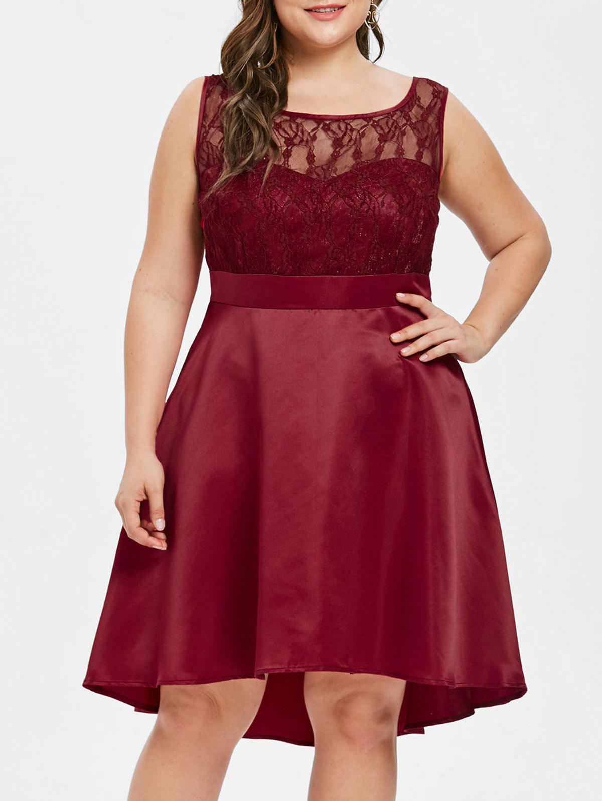 Back V Plus Size Lace Panel A Line Dress - RED WINE 4X