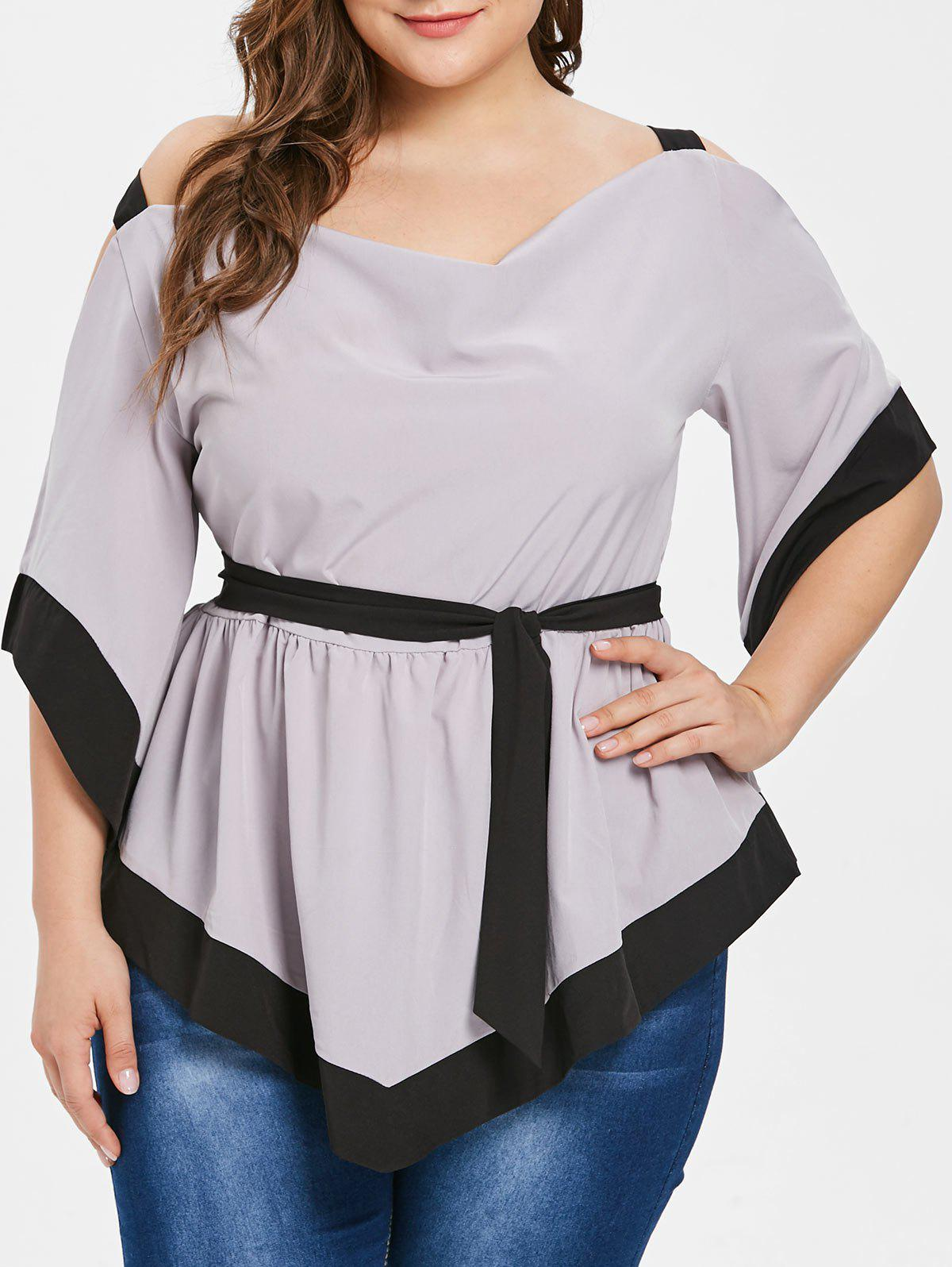 Plus Size Two Tone Cold Shoulder Belted Blouse - GRAY GOOSE L