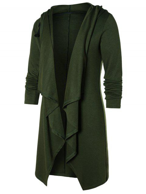 Open Front Solid Hooded Coat - ARMY GREEN XL