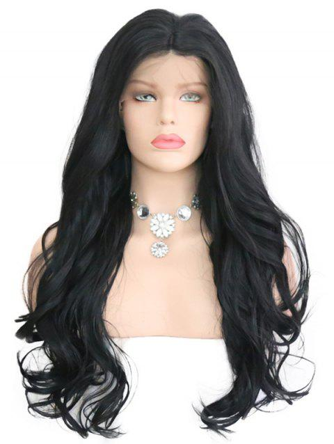 Synthetic Lace Front Middle Part Wavy Wig - NATURAL BLACK 18INCH