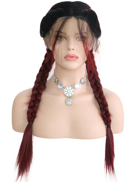 Middle Part Colormix Double Braids Synthetic Lace Front Wig - multicolor 14INCH