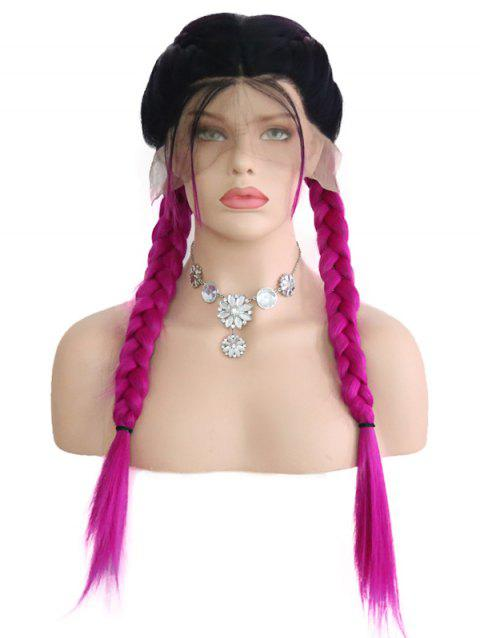 Middle Part Ombre Double Braids Synthetic Lace Front Wig - multicolor 16INCH