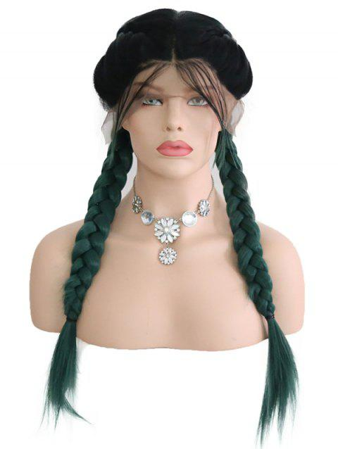 Center Parting Ombre Double Braids Synthetic Lace Front Wig - multicolor 16INCH