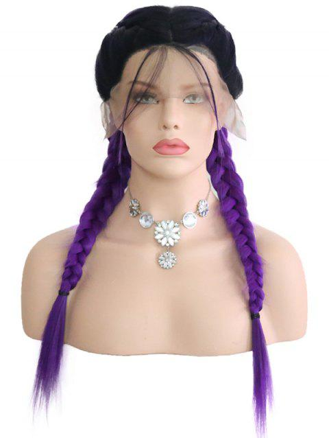 Center Parting Colormix Double Braids Synthetic Lace Front Wig - multicolor 14INCH