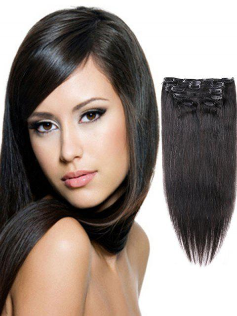 Clip in Straight Human Hair Extensions - BLACK 18INCH