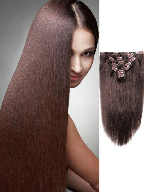 Human Hair Straight Clip in Hair Extensions - COFFEE 14INCH
