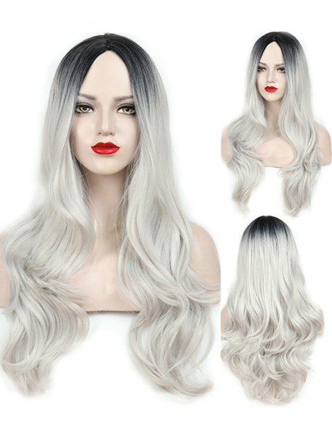 Middle Part Wavy Long Capless Party Synthetic Wig - multicolor A