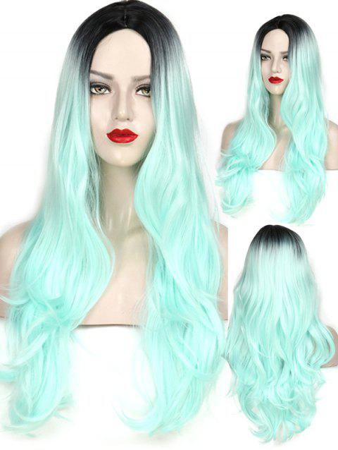 Middle Part Wavy Long Capless Party Synthetic Wig - multicolor B