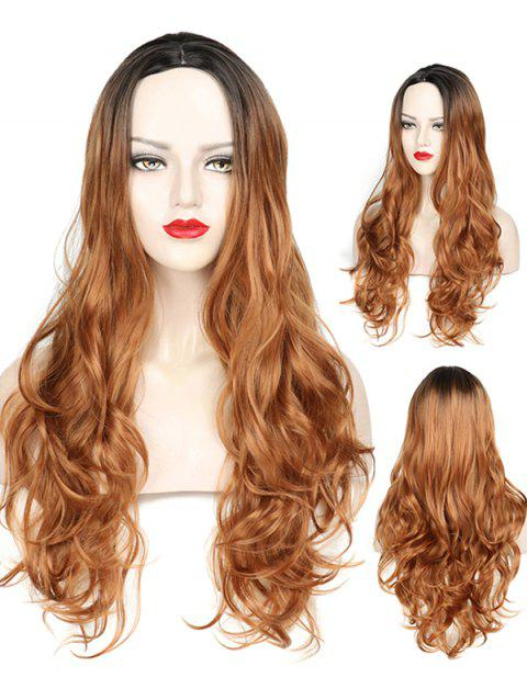 Middle Part Wavy Long Capless Party Synthetic Wig - multicolor C