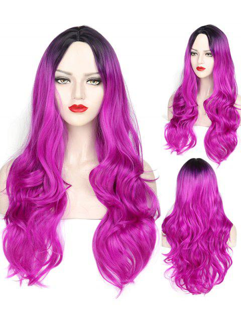 Middle Part Wavy Long Capless Party Synthetic Wig - multicolor E
