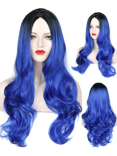 Middle Part Wavy Long Capless Party Synthetic Wig - multicolor F