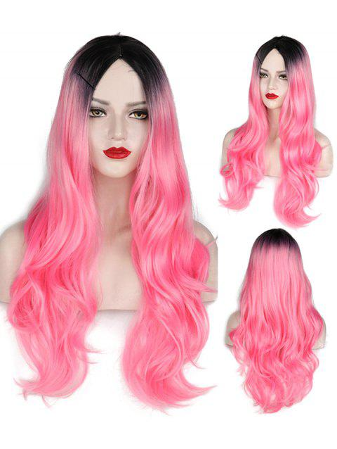 Middle Part Wavy Long Capless Party Synthetic Wig - multicolor G