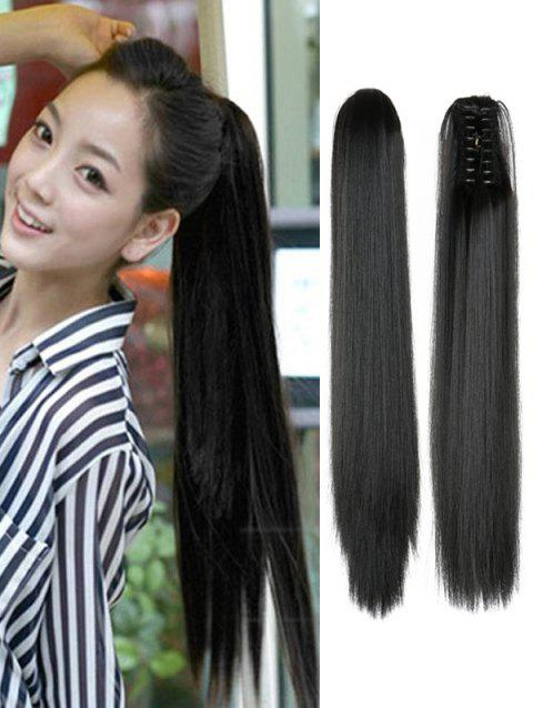 Long Straight Synthetic Claw Clip in Ponytail - NATURAL BLACK