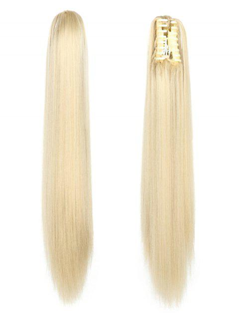 Long Straight Synthetic Claw Clip in Ponytail - multicolor C