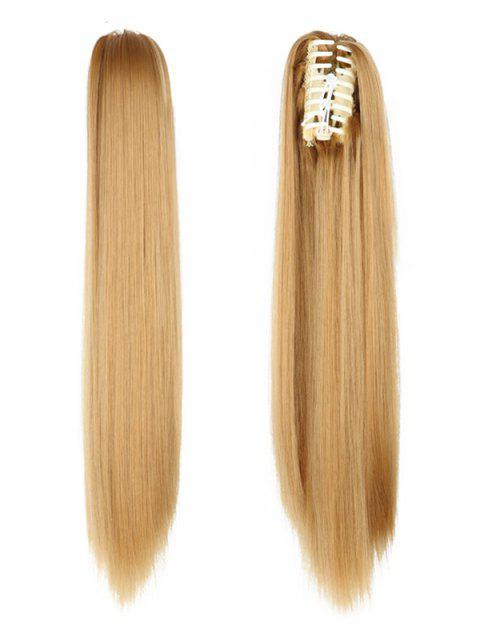 Long Straight Synthetic Claw Clip in Ponytail - COOKIE BROWN