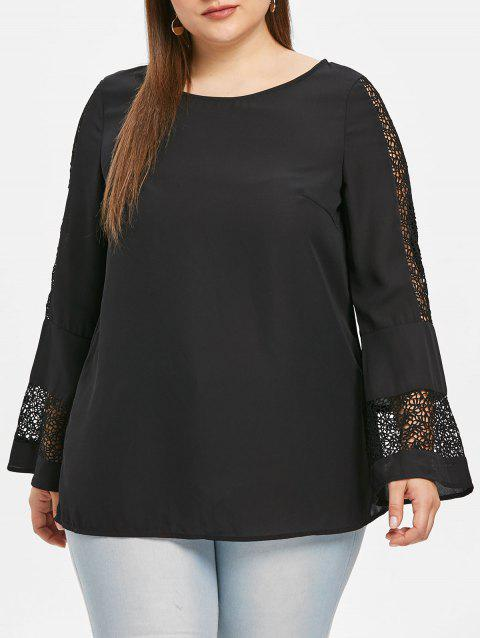 Lace Panel Flare Sleeve Plus Size Blouse - BLACK 4X