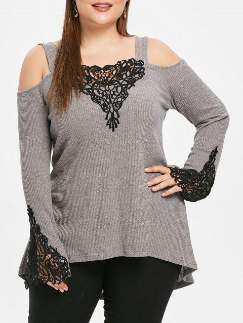 Plus Size Long Sleeves Cold Shoulder Lace Panel Knitwear - GRAY 3X