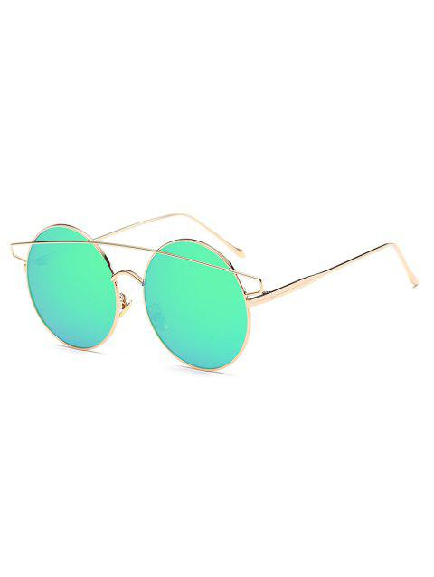 Metal Round Frame Stylish Sunglasses - YELLOW GREEN