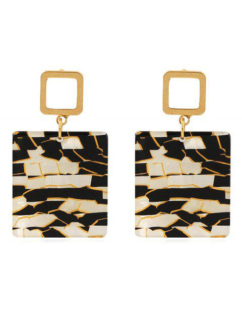 Metal Square Ring Marble Pattern Square Stud Earrings - LEOPARD