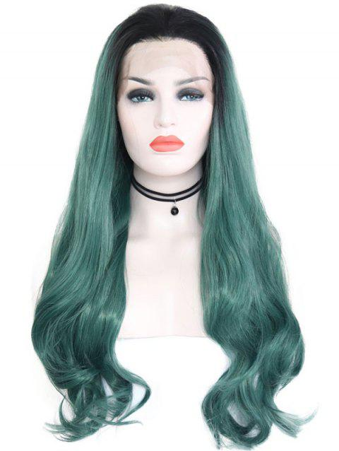 Synthetic Free Part Ombre Wavy Lace Front Wig - SEA TURTLE GREEN 22INCH