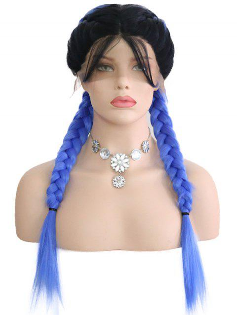 Center Parting Ombre Double Braids Lace Front Wig - multicolor 24INCH