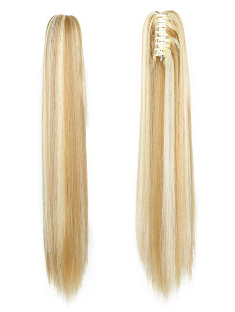 Long Straight Synthetic Claw Clip in Ponytail - multicolor D