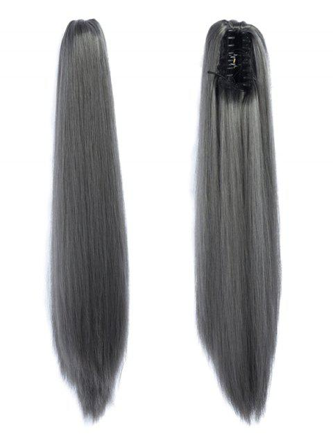 Long Straight Synthetic Claw Clip in Ponytail - GRAY