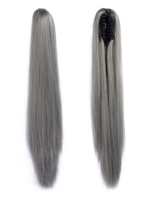 Long Straight Synthetic Claw Clip in Ponytail - BATTLESHIP GRAY
