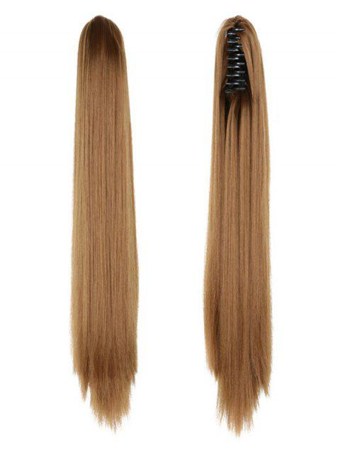 Long Straight Synthetic Claw Clip in Ponytail - COFFEE