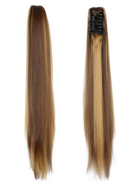 Long Straight Synthetic Claw Clip in Ponytail - multicolor B