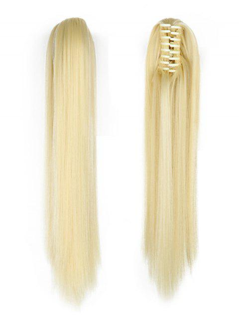 Long Straight Synthetic Claw Clip in Ponytail - BEIGE