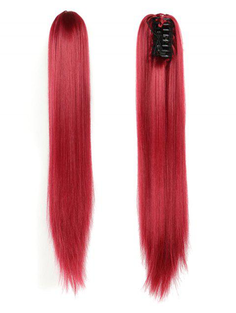 Long Straight Synthetic Claw Clip in Ponytail - RED WINE
