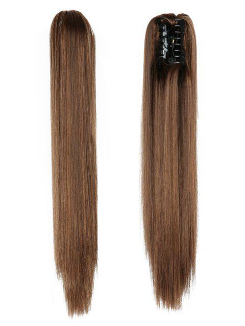 Long Straight Synthetic Claw Clip in Ponytail - multicolor F