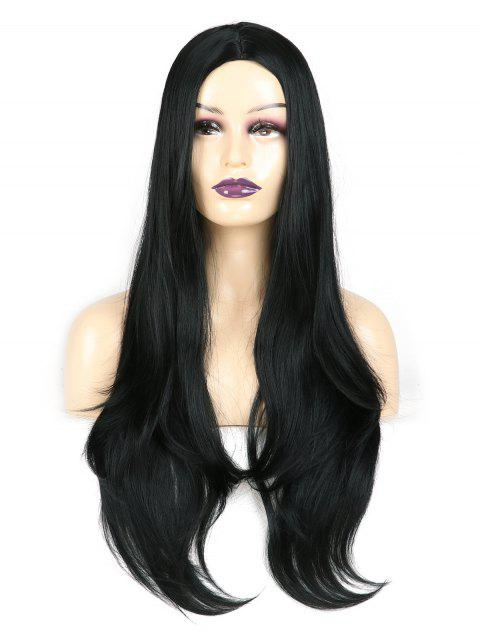 Center Parting Straight Long Capless Synthetic Wig - NATURAL BLACK