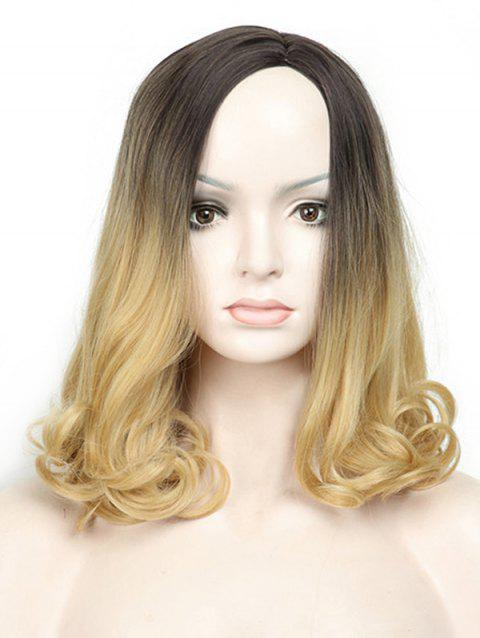 Medium Side Parting Colormix Wavy Capless Synthetic Wig - multicolor