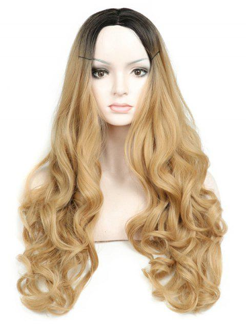 Long Middle Part Capless Ombre Wavy Synthetic Wig - multicolor