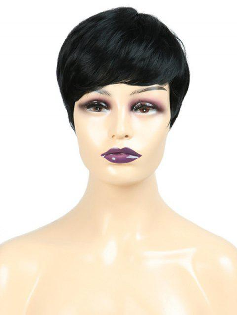 Inclined Fringe Straight Short Synthetic Wig - NATURAL BLACK