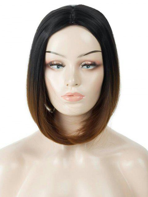 Middle Part Short Ombre Straight Bob Capless Synthetic Wig - multicolor