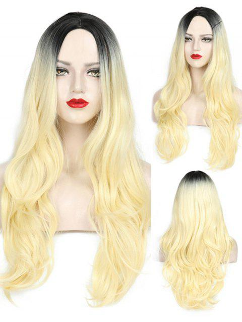 Middle Part Wavy Party Long Capless Synthetic Wig - multicolor A