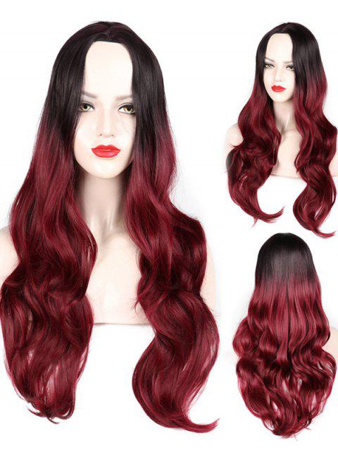 Middle Part Wavy Party Long Capless Synthetic Wig - multicolor C