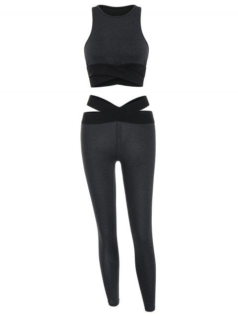 Cut Out Top and Sports Leggings - BLACK S