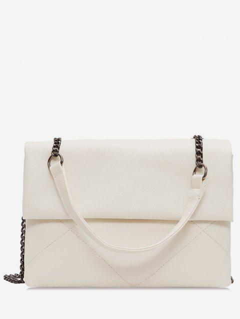 Minimalist PU Leather Chain Shoulder Bag - WHITE