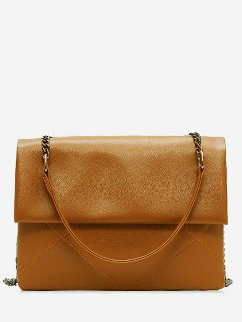 Minimalist PU Leather Chain Shoulder Bag - BROWN