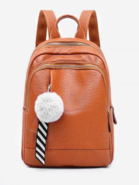 Faux Fur Ball Large Capacity Backpack - BROWN