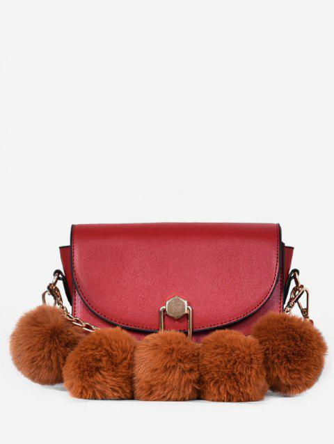 Faux Fur Ball PU Leather Crossbody Bag - RED