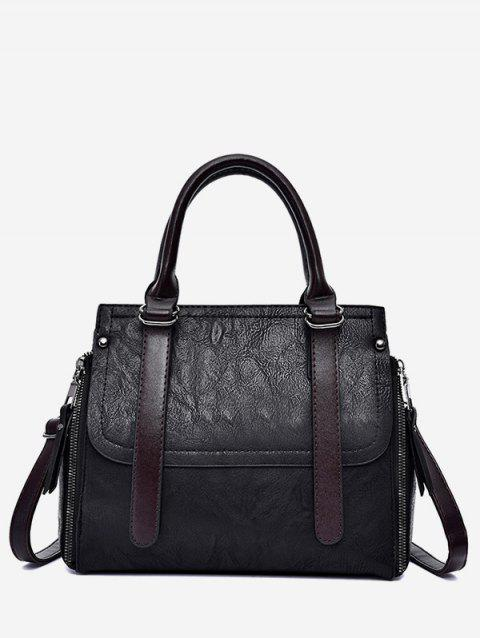 PU Leather Zip Tote Bag With Strap - BLACK