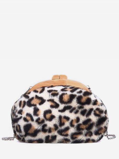 Wooden Hasp Faux Fur Leopard Print Evening Bag - BEIGE