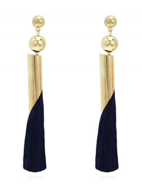 Bead Metal Tassel Stud Earrings - NAVY BLUE